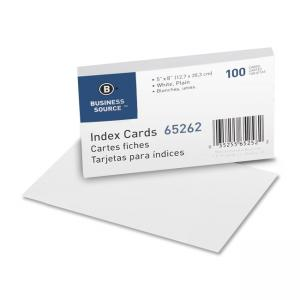 Business Source Plain Index Cards - 100 / Pack - White