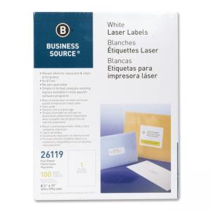 Business Source Full Sheet Laser Labels - 100 / Pack - White