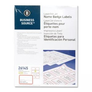 Business Source Laser/Inkjet Name Badge Labels - 400 / Pack - White