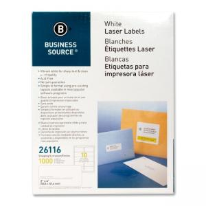 Business Source Shipping Laser Labels 1000 / Pack - White