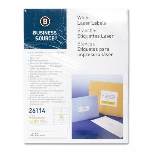 Business Source Mailing Laser Labels - 1400 / Pack - White