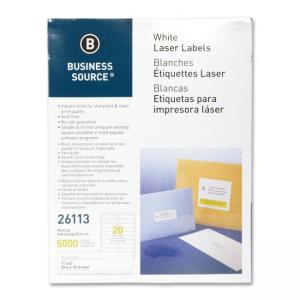 Business Source Mailing Laser Labels - 5000 / Pack - White