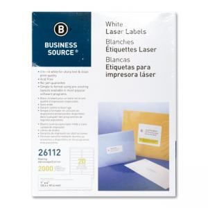 Business Source Shipping Laser Labels - 2500 / Pack - White