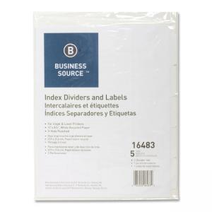 Business Source Punched Laser Tab Divider - 5 x Tab - 1 Set