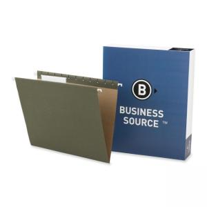 Business Source Standard Hanging File Folder - Letter - Green - 25 / Box