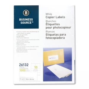 Business Source White Copier Mailing Labels - 1000 / Pack - Bright White