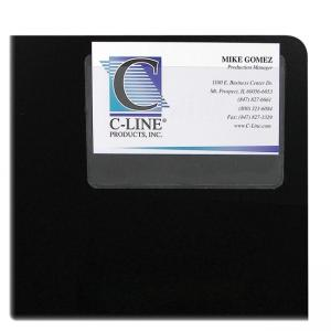 "C-line 70257 Top Load Business Card Holder - 3.5"" x 2"" - Vinyl - 10 / Pack - Clear"