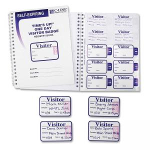 C-line Times Up! Self-expiring Visitor Badges with Registry Log - 150 / Box - White