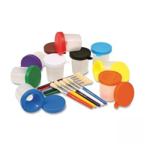 ChenilleKraft No-Spill Cups and Coordinating Brushes Pack - Assorted Colors - 10 / Pack
