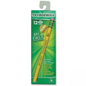 Dixon Ticonderoga Pencil with Eraser - Pencil Grade: #2 - Barrel Color: Yellow - 12 / Dozen