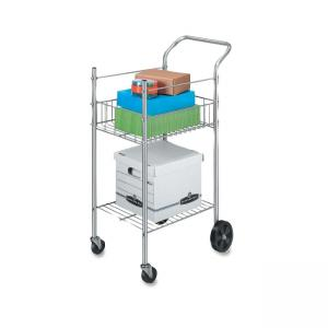Fellowes Double Basket Wire Mail Cart - 1 Each - Silver