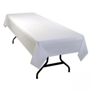 Genuine Joe Banquet Size Table Cover - White - 1 Roll