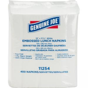 Genuine Joe White Lunch Napkins - 1 Ply - 400 Sheets/Pack - 2400 / Carton - White