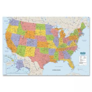 "House of Doolittle Laminated U.S. Map - United States - 50"" Width x 33"" Height"