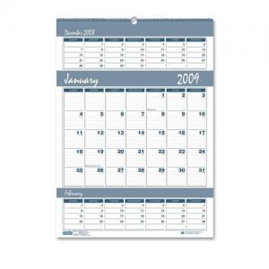 "House of Doolittle Bar Harbor Triple Month Wall Calendar - 15.5"" x 22"""