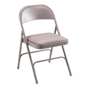 Lorell Steel Folding Chair - 4 / Carton Steel - Beige
