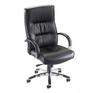 Lorell Bridgemill Executive High-Back Swivel Chair - Black - 1 Each