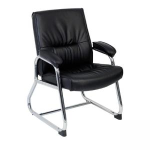Lorell Bridgemill Leather Guest Chair - 1 Each - Leather - Black