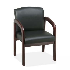 Lorell Deluxe Guest Chair Wood - Mahogany - Leather - Black - 1 Each