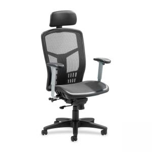 Lorell High-Back Mesh Chair - Black - 1 Each