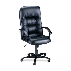 Lorell Tufted Leather Executive High-Back Chair - 1 Each - Black
