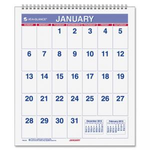 "Mead At-A-Glance One-page-per-month Mini Wall Calendar (AAGPM528) Monthly - 6.50"" x 7.50"" - 1 Year - January till December - 1 M"