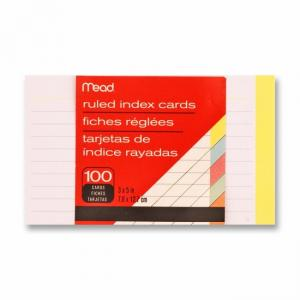 "Mead Colored Index Card - 1 Pack - 100 Sheets - 3"" x 5"""