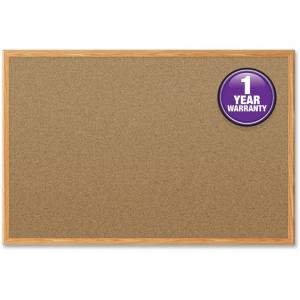 "Mead Cork Surface Bulletin Board - 2"" Height x 1.50\"" Width - Cork Surface - Oak Aluminum Frame"