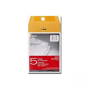 Mead Heavyweight Brown Kraft Clasp Envelopes - 5 / Pack