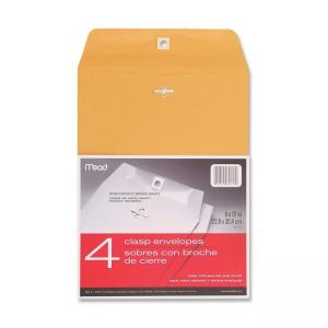 Mead Heavyweight Clasp Envelopes - 4 / Pack - Brown