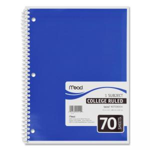 MeadWestvaco 1-Subject Wirebound Ruled Notebook - 1 Each - 70  Sheets