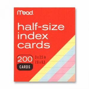 MeadWestvaco Half Size Index Cards - 200 / Pack - Assorted Colors