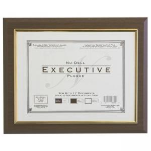 Nu-Dell Insertable Executive Award Plaque - Walnut - Gold Trim - 1 Each