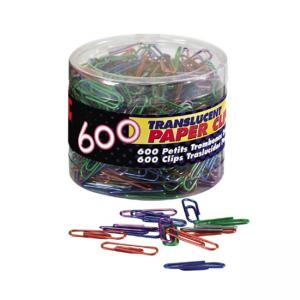 OIC Translucent Vinyl Paper Clips - 600 / Box - Blue