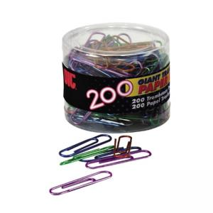 OIC Translucent Vinyl Paper Clips - 200 / Box - Blue