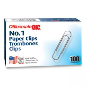 OIC Paper Clips - 100 / Box - Silver