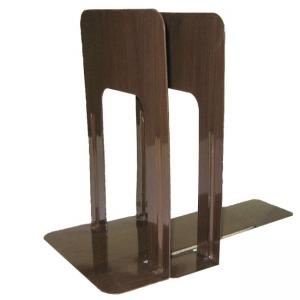 OIC Nonskid Bookend - Color - Woodgrain - 1 Pair