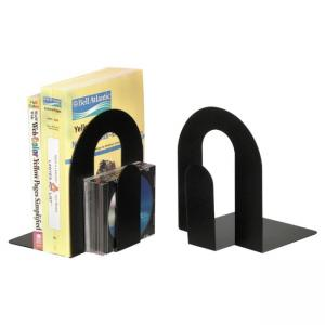 "OIC Steel Construction Heavy-Duty Bookend - 10"" - Black 2 Pair"