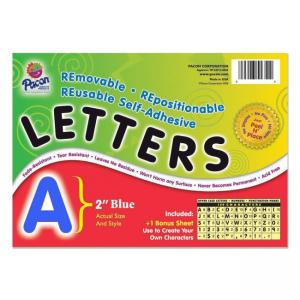 Pacon Colored Self-Adhesive Removable Letters - 1 Pack - Blue