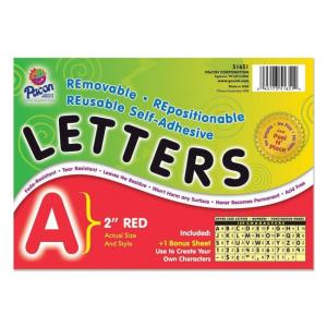 Pacon Colored Self-Adhesive Removable Letters - 1 Pack - Red