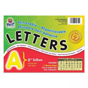 Pacon Colored Self-Adhesive Removable Letters - 1 Pack - Yellow