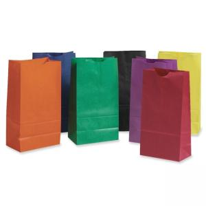 Pacon 72140 Rainbow Bag - Stationery Bag - Gusset - Kraft Paper - 28 / Pack - Assorted