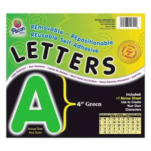Pacon Self-Adhesive Removable Letters - 1 Pack - Green
