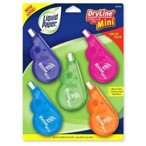 Paper Mate DryLine Mini Correction Tape - 5 / Pack - White