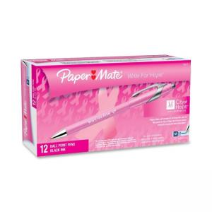 Paper Mate Flexgrip Elite Pink Ribbon Retractable Pen - Black Ink - Pink Barrel - 12 / Dozen
