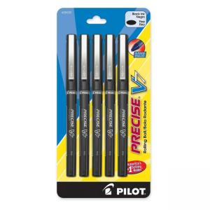 Pilot Precise V7 Rollerball Pen - Black Barrel - 5 / Pack