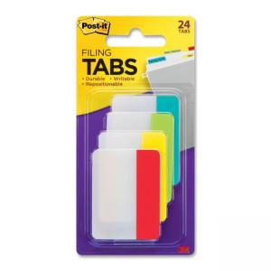 Post-it Durable File Tab - 24 / Pack - Assorted Colors