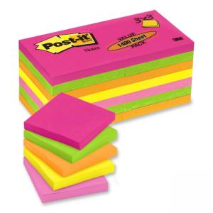 "Post-it Neon Plain Note Assorted 5 / Pack "" Width x 3"" Length"