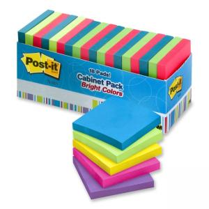 "Post-it Super Sticky Bright Notes Assorted 18 / Pack 3"" Width x 3"" Length"