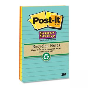 "Post-it Super Sticky Recycled Adhesive Note Assorted - 3 / Pack  4"" Width x 4"" Length"